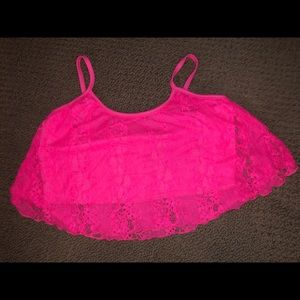 Lace pink crop top